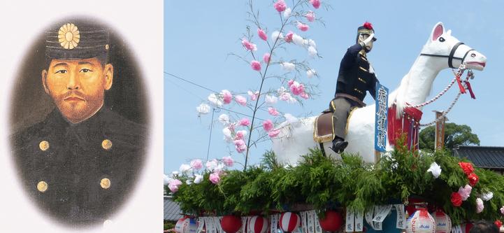 コレラと戦った増田敬太郎巡査の山車を佐賀城鯱の門前に展示